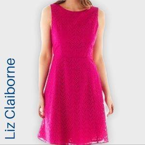 Liz Claiborne Pink Eyelet fit and flare dress